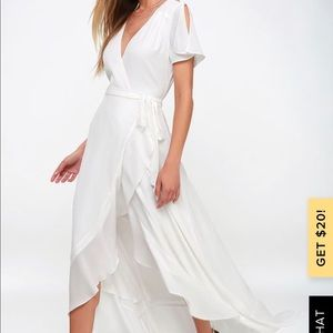 LuLus M Magic Moment White Wrap Maxi Dress